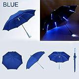 BDDLLM - Paraguas de 8 luces variables con iluminación LED de seguridad nocturna de colores cálidos, paraguas de 8 caras con linterna ligera, regalo ideal para niños, Azul (Azul) - 6925176552310