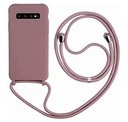 MEIVS Funda Compatible con Samsung Galaxy S10E, Ajustable Collar Correa de Cuello CordónCarcasa de Silicona-Loto Color