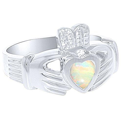 Unisex-Ring für Sie oder Ihn, künstlicher Opal, Claddah Ring, Liebe, Treue und Freundschaftsring, Sterlingsilber oder Gelbgold vergoldet