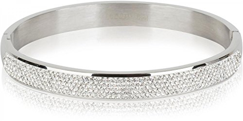 styleBREAKER Armreif aus Edelstahl mit Strasssteinen, Clipverschluss Armband, Schmuck, Damen 05040101, Farbe:Silber