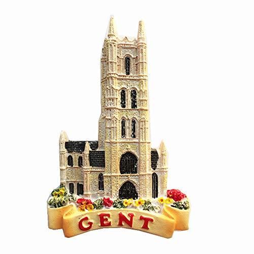 Aimant de réfrigérateur 3D Ghent Belgique Souvenir Touristique Collection Cadeau Décoration de cuisine Maison Aimant magnétique Gent Belgique Aimant de réfrigérateur