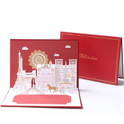 XLYAN Hochzeitseinladungen Hohl Dreidimensionales Muster Einladungskarten Hochzeit Laserschneiden,Leeres Bedruckbares Papier,20 Sätze,Red