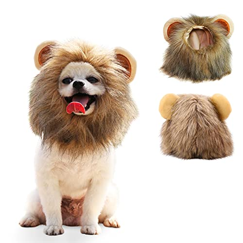 AOFITEE Dog Lion Mane Costume, Cute Pet Puppy Cat Lion Wig Headband with Ears for Halloween Party,...