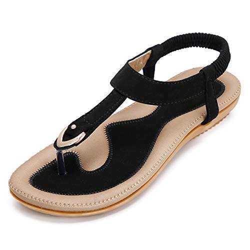 KUONUO Sandalias Mujeres Bohe Rhinestone Moda Plano Talla Grande Bohemia Sandalias Casuales Zapatos de Playa Sandalias…