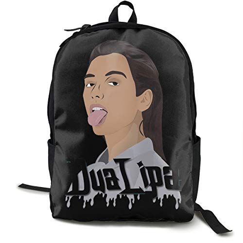 N / A Dua Lipa Classic Backpack Schoolbag Black Bag Polyester Unisex School Work Travel