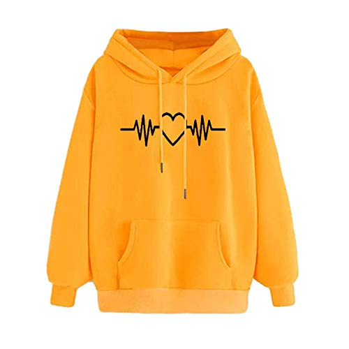 Mllkcao Ladies Tops for Women Blouses Casual Hoodie Sweatshirt Pullover Tops Long Sleeved Valentine's Day Present Comfortable Yellow