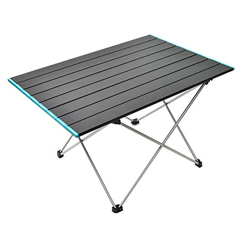 Outdoor Portable Folding Aluminum Alloy Table Picnic Camping Barbecue Table Simple Leisure Aluminum Plate Table Load-bearing Strong Portable Belt (black)