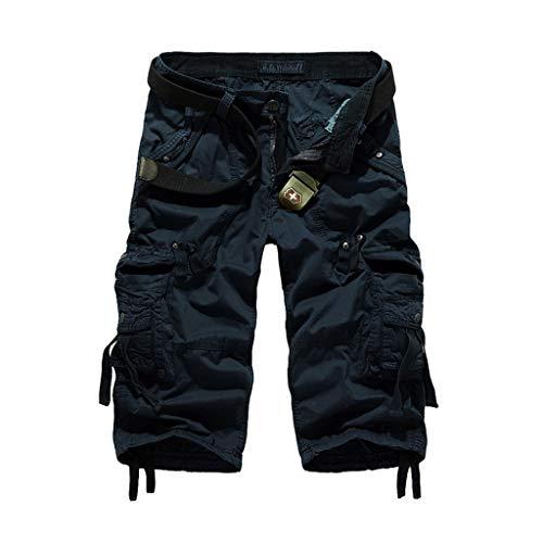 TWDYC Pantalones Cortos de Carga de Verano Hombres Entrenamiento Informal Pantalones Cortos Militares multil-Bolsillo de Pantalones Cortos de Longitud Corta para Hombres
