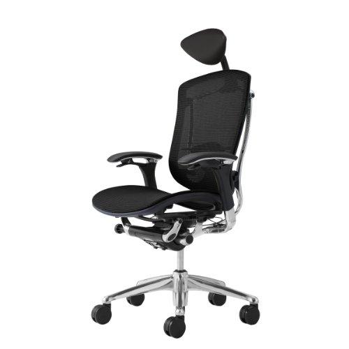 オカムラ オフィスチェア コンテッサ 可動肘 ヘッドレストタイプ 座:メッシュ ブラック CM51AB-FBH1