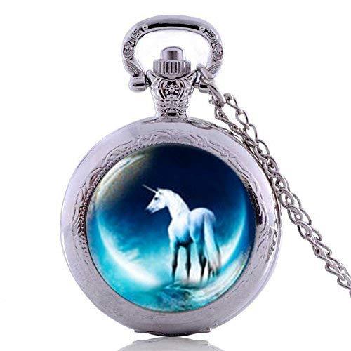 Collar con colgante de unicornio en la luna de estilo vintage, chapado en plata, hecho a mano, reloj de bolsillo, collar, joyería, caballo, regalo