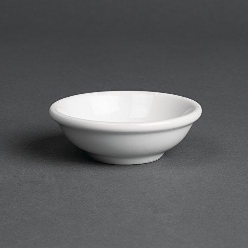 Oriental Couleur vaisselle Sauce de soja: Blanc. Diamètre: 70mm. Quantité par boîte: 12.