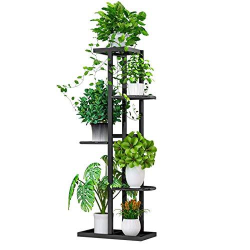 Porta piante in metallo, portavasi in ferro battuto, porta piante da esterno con 5 ripiani, porta fioriera mensola porta fiori per balcone di casa giardino 22x43,5x96,5 cm(nero)