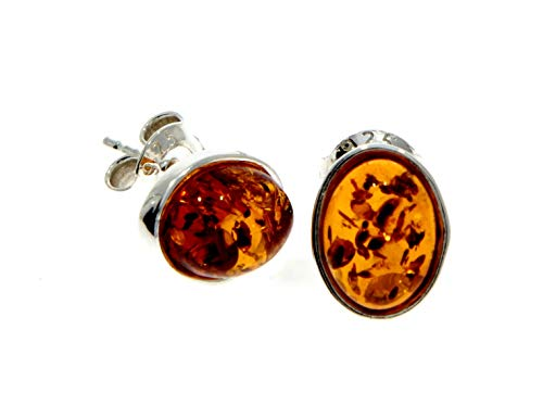 Cognac Baltic Amber 925 Sterling Silver Delicate Stud Oval Earrings M637C