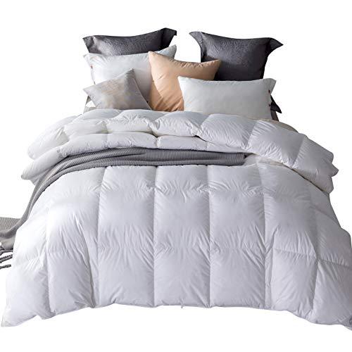 Amazon Brand - Umi Decke mit weißen Gänsefedern und -daunen und reinem, daunendichtem Baumwollgewebe (13,5 tog, Super-Kingsize)