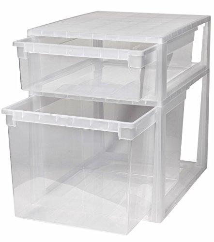2 Stück Schubladenboxen mit Nutzvolumen 22 (XL) und 50 (XXL) Liter. Passend für z.B. Pullover, Shirts, Hosen, Bettwäsche, etc.