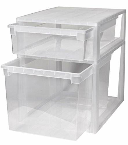 Kreher 2 Stück Schubladenboxen mit Nutzvolumen 22 (XL) und 50 (XXL) Liter. Passend für z.B. Pullover, Shirts, Hosen, Bettwäsche, etc.