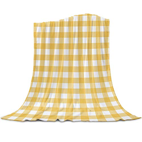 Soft Fleece Throw Blanket for Couch,Spring Buffalo Plaid Yellow,Flannel Bed Blankets Lightweight Plush & Warm Decorative,Farmhouse Checkered Symmetrical,Sofa Travel Camping Blankets ,40x50inch