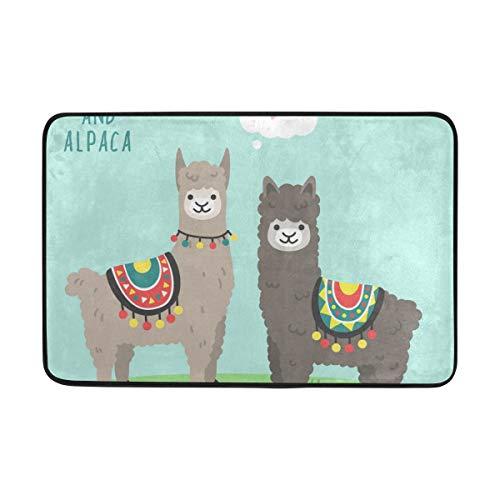 ISAOA Cute Llama and Alpaca Felpudo antideslizante y lavable – Interior –...