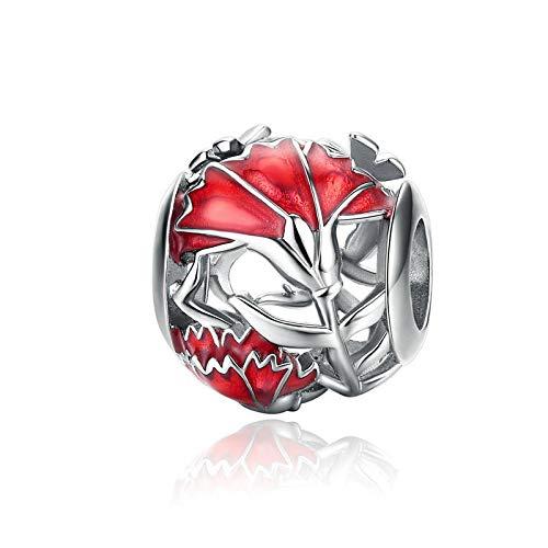 shangwang Red DIY Perlen 925 Sterling Silber Laterne Maus Koi Silber Perlen Geeignet für Pandora Armband EFC097