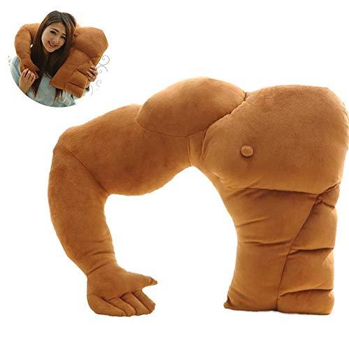 SunEast Almohada de apoyo muscular para novio, cojín cálido para hombre, almohada de cuerpo de felpa, peluche suave para asiento de coche, sofá, cama, dormir, 58 cm, color marrón