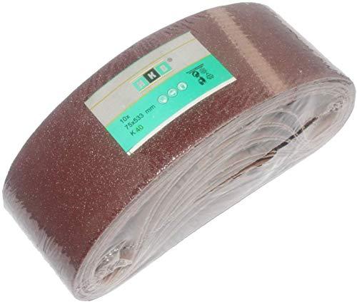HKB ® Gewebe-Schleifbänder │ 10 Stück │ 75 x 533 mm │ Korn 40 │ für Bandschleifer │ Schleifpapier │ Schleifblätter …