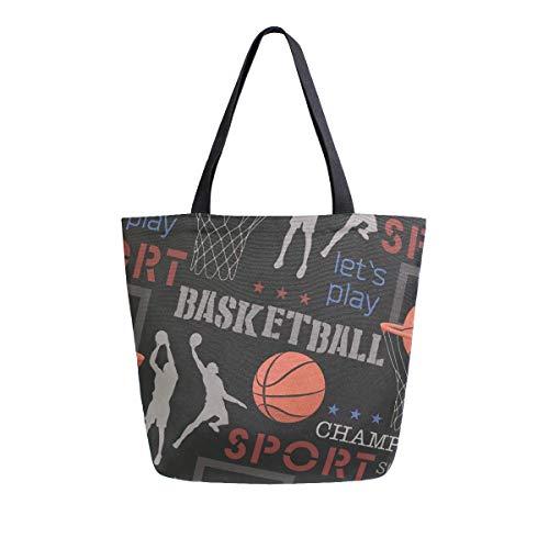 Bolso de lona con estampado de baloncesto con asa superior, bolsos grandes, reutilizables, bolsas de hombro de algodón para mujeres, viajes, trabajo, compras, comestibles