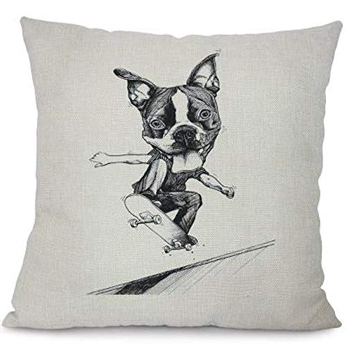 Cojines Funda de cojín Caliente Almohada de Perro Malo Divertido Animal Funda de Almohada Decorativa Sala de Estar Hogar Perro de Dibujos Animados 40 × 40cm con núcleo de Almohada