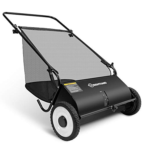 Right Hand 26-Inch Push Lawn Sweeper, Strong Rubber Wheels & Heavy Duty Durable Steel Structure Sweeps Leaf Grass & More, 7ft Mesh Collection Bag, 4 Spinning Brushes