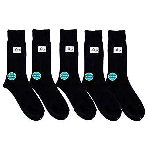 靴下 日本製 麻 抗菌防臭 ビジネスソックス 黒 5足セット 24-27cm (ワンポイント有り)