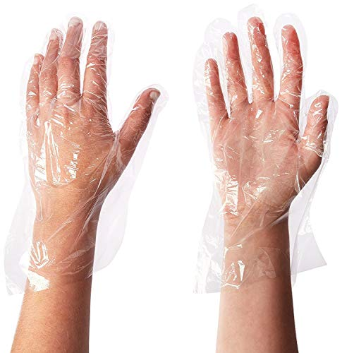 Disposable PE Plastic Gloves / BPA - Rubber - Latex Free / Food Preparation - Cleaning Poly Gloves Size Large Box of 500