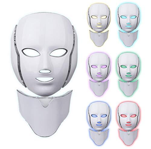 Máscara Terapia Luz Cara Led, 7 Colores Led Cara Cuello Máquina De Rejuvenecimiento Piel De Fotón Máscara Terapia De Luz De Acné Para El Cuidado Piel Blanqueamiento Antienvejecimiento Antiarrugas