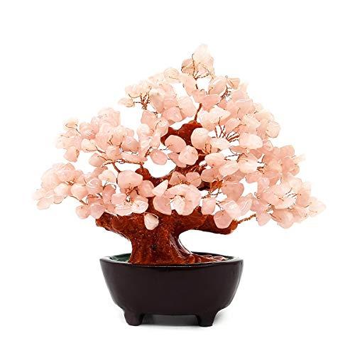 Colorsheng 7 Inch Quartz Crystal Money Tree Bonsai Feng Shui Gem Decoration for Wealth and Luck (Pink)