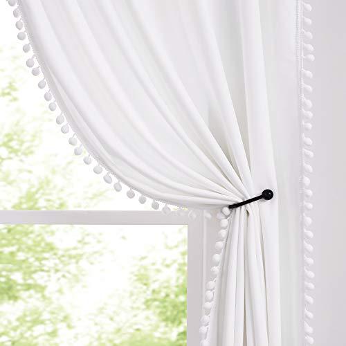 Treatmentex Pom-Pom White Velvet Curtains 84inches Long for Living Room Decorative Room Darkening Window Drapes for Girls Bedroom Rod Pocket 2 Pack Rod Pocket