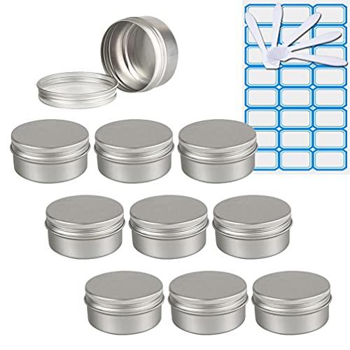 ZEOABSY10 Piezas Tarros de Aluminio con Tapa Rosca 150ml,Plata Tarros de Aluminio Vacíos Redondo para Contenedor De Cosméticos CremasCaja de almacenaje con5 Espátula y 1Etiqueta