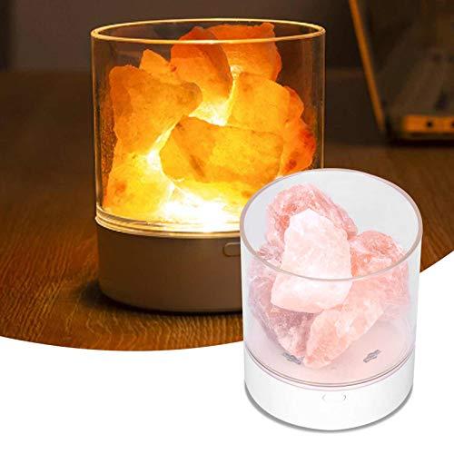 Rosa Himalaya-Salzfelsenlampe, USB-Salzlampe, Nachtlichtdimmer mit Warmer Farbe und 7 Arten von Farbverändernden, Reinigenden Luftfreigabe-negativen Ionen für Schlafzimmer, Büro, Wohnzimmer