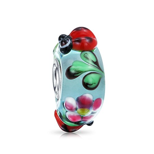 Bling Jewelry Ladybug Insect Flower Lampwork Vetro di Murano 925 Sterling Silver Core Spacer Bead Fits European Charm Bracelet for Women
