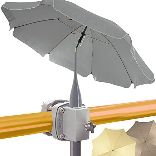 4smile Set - Sonnenschirm Balkon SunnyJoy + Sonnenschirmhalter Balkongeländer SunnyBoy – UV 50+ Balkon-Sonnenschirm mit Halterung, D 200cm - Raumwunder Komplettset, edel und cool in Fb. Anthrazit