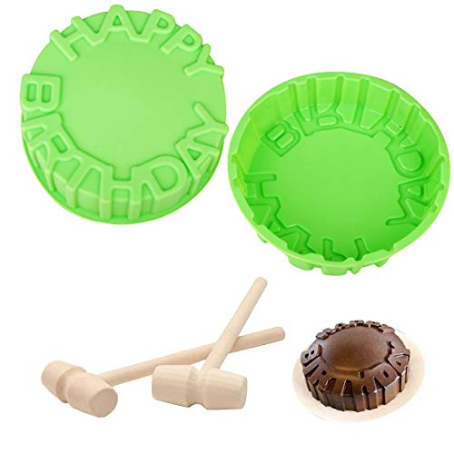 Reusable Silicone Cake RoundMold with Happy Birthday Letter Shape, 7.87 In Easy Release Large Chocolate Mold Candy Trays for Mousse Cake Baking, Pizza Pie Flan, Jello, Pastry, Brownie, Soap