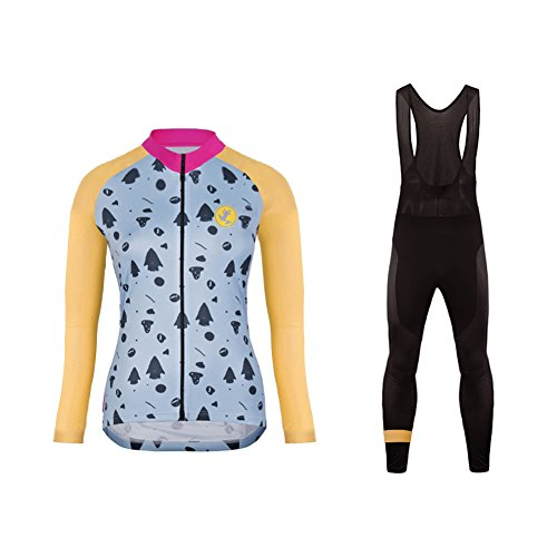 Uglyfrog New Mujer Ciclismo Mangas Largas Maillots+Bib Pantalones Cortos Set Cremallera Completa Moda Transpirable Spring&Autumn Ropa Deportiva