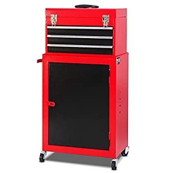 Giantex Mini 3 Drawer Rolling Tool Box 2Pc Metal Tool Storage Cabinet Organizer with Wheels and Locking System Removable Small Combo Tool Chest Workbench for Garage