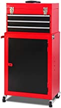 Giantex Mini 3 Drawer Rolling Tool Box, 2Pc Metal Tool Storage Cabinet Organizer with Wheels and Locking System, Removable Small Combo Tool Chest Workbench for Garage