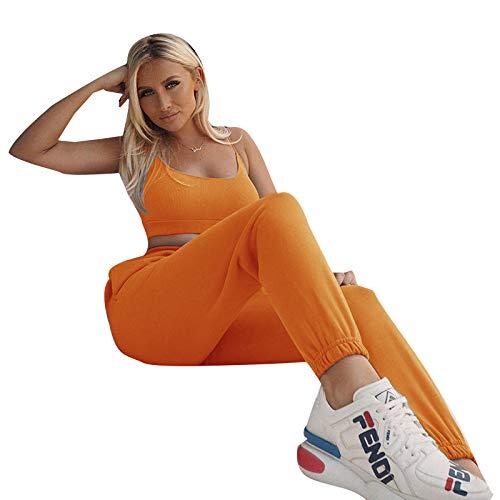 Geagodelia - Pantalones deportivos elásticos para mujer, cintura alta, con bolsillos, color liso, para yoga, Pilates S-L Arancione S