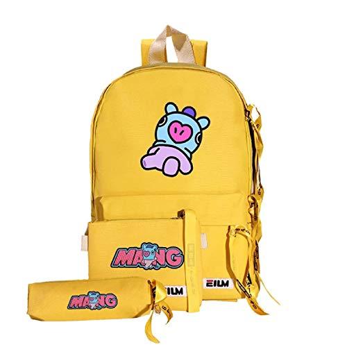 Kpop BTS - Mochila de lona para niños, diseño de Bangtan Amarillo, mang talla única