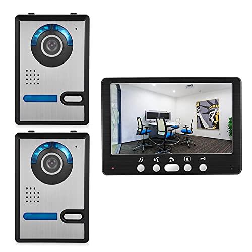 Timbre con video, intercomunicador, apartamento, kit de sistema de seguridad para el hogar con videoportero de 7 pulgadas, 2 cámaras de visión nocturna para exteriores + monitor interior