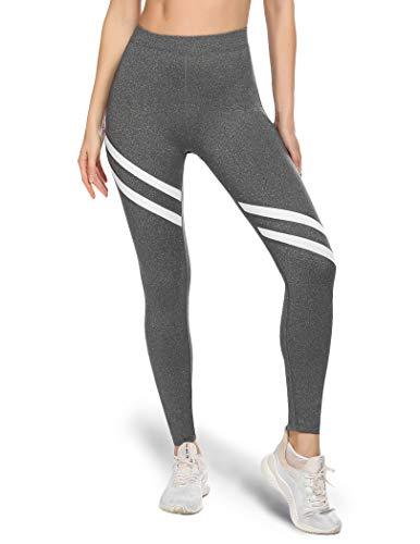 ADOME Damen Lange Sportleggings mit Colour-Block-Design Hohe Taille Sport Tights, grau l