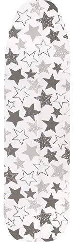 Ladeheid Cubierta de Tabla de Planchar 100% Algodón (Blanco/Estrellas, 132 x 48 cm)
