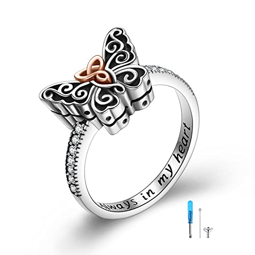 925 Sterling Silver Butterfly Urn Ring for Ashes ,Celtic Knot Memorial Keepsake Jewelry Always in My Heart Cremation Ring for Women