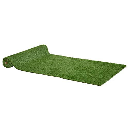 Outsunny Tappeto Erboso Sintetico 4x1m Erba 20mm, Finto Prato Verde Atossico Anti-UV e Drenante per Giardino e Cortile