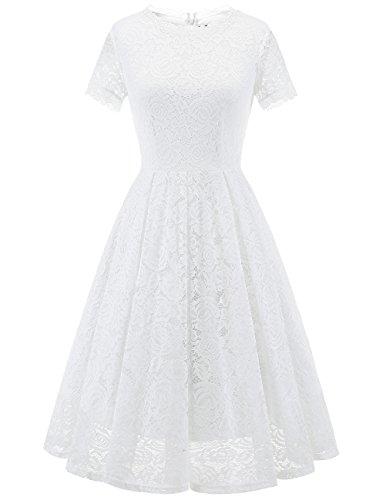 DRESSTELLS Damen Midi Elegant Hochzeit Spitzenkleid Kurzarm Rockabilly Kleid Cocktail Abendkleider White S