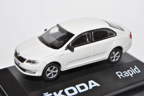 Abrex Skoda Rapid Limousine Candy Weiss Ab 2012 NH ABR171ABD022E 1/72 Modell Auto mit individiuellem Wunschkennzeichen
